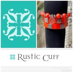 Rustic cuff bracelets neon orange Megan Carlyle